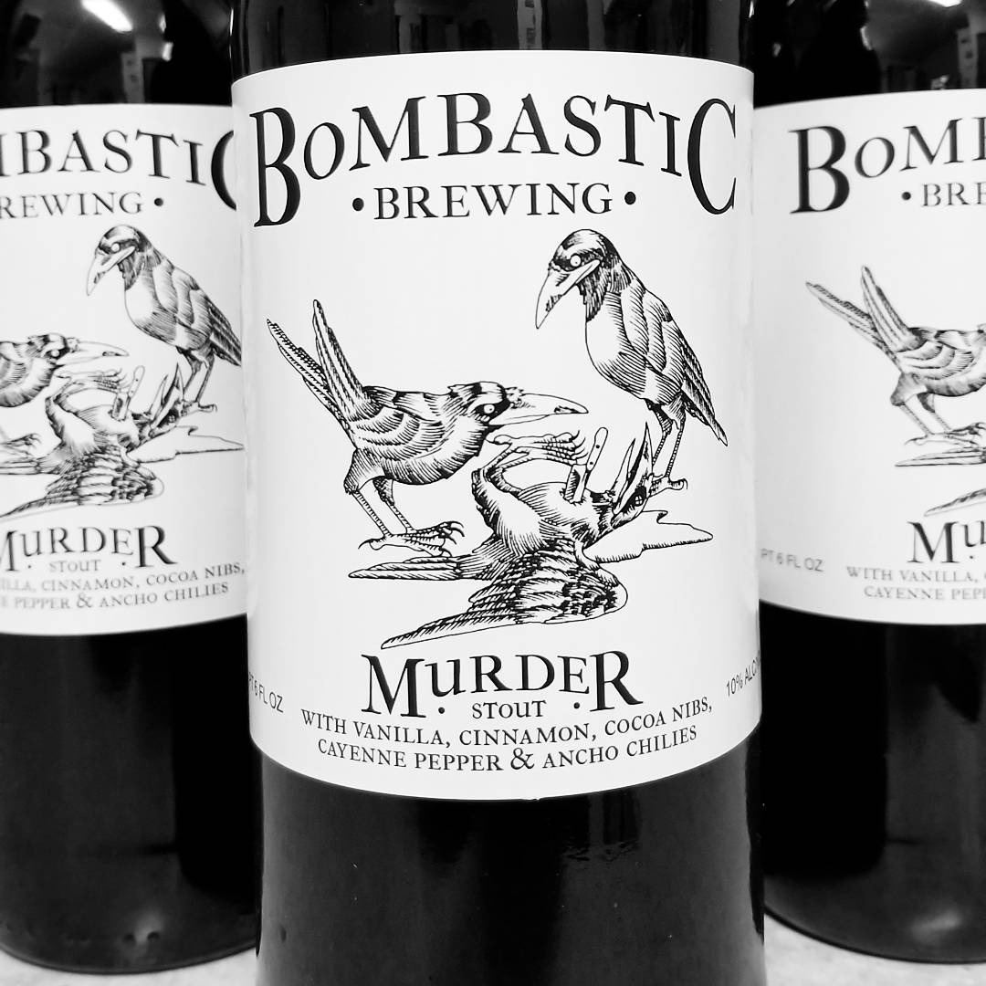 Bombastic Brewing Murder Imperial Stout. 10% ABV brewed with 5 adjuncts. Bottle release happening right now, and they're almost gone. Don't wait. Link in profile.